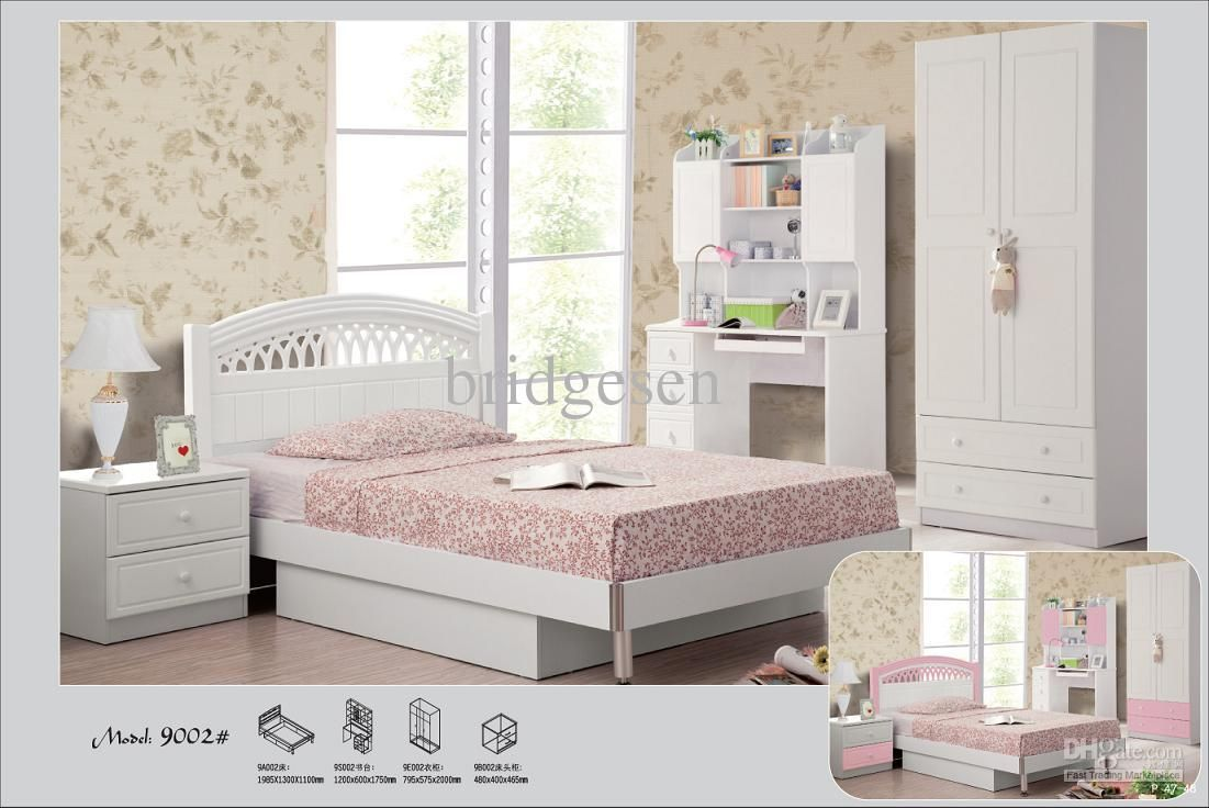 kids white bedroom furniture white / pink princess children