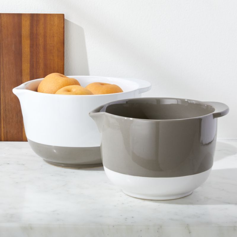 Shop Riley Mixing Bowls With Handles Set Of 2 Grey And White Glazes Block A Set Of Bowls In Modern Monochrome Equipped Wi Crate And Barrel Mixing Bowls Bowl