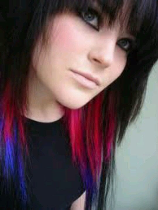 Blue, purple, red/pink hair