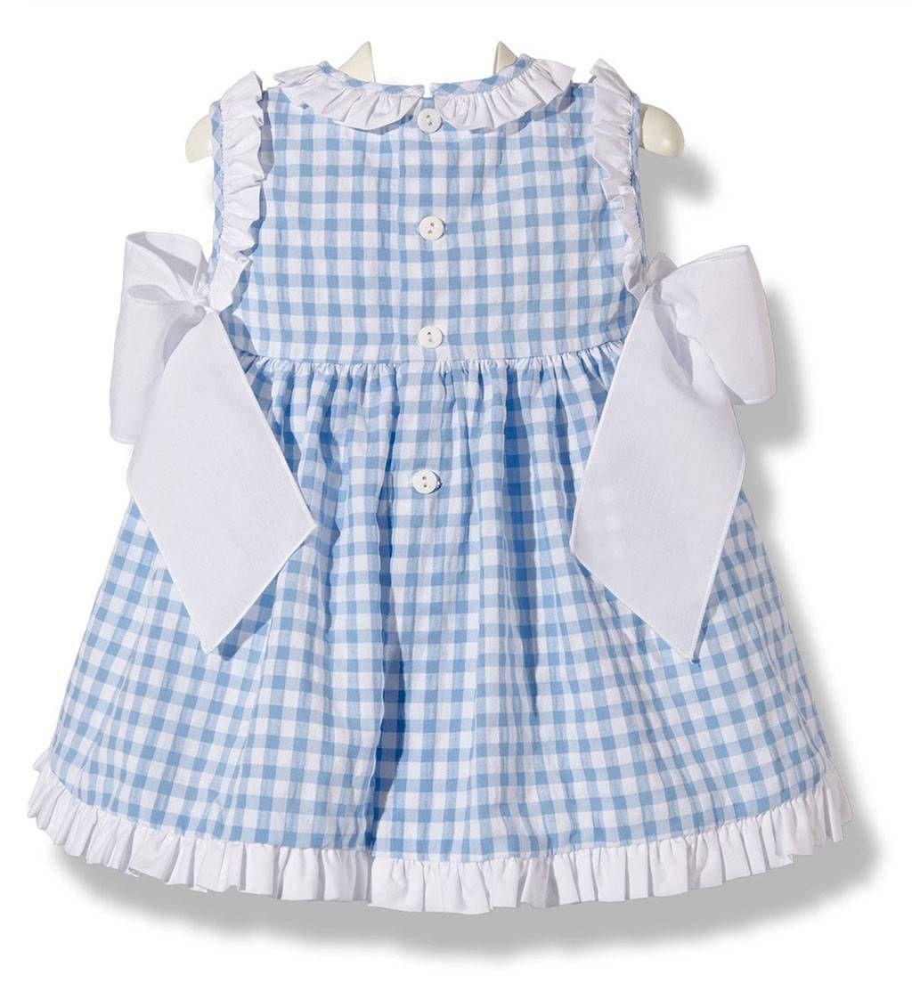 96b57dcaef24e Precioso vestido de verano para bebe niña en cuadros vichy azul y blanco  infanil