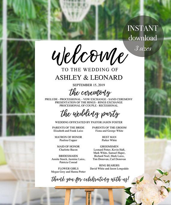 wedding program sign large wedding welcome with program ceremony