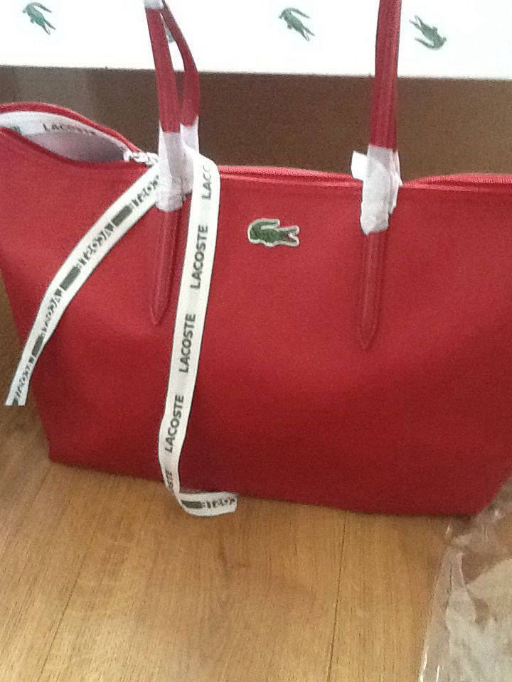 29214c0bd844 Lacoste tote in red Luggage Bags