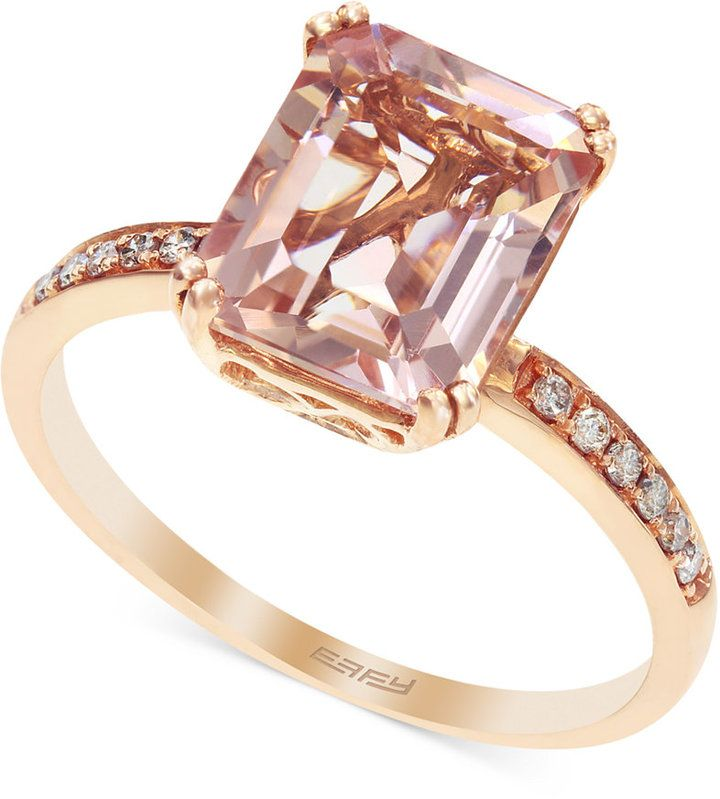b82888caf62ab2 Blush by EFFY Morganite (2-1 2 ct. t.w.) and Diamond (1 10 ct. t.w.) Ring  in 14k Rose Gold on shopstyle.com