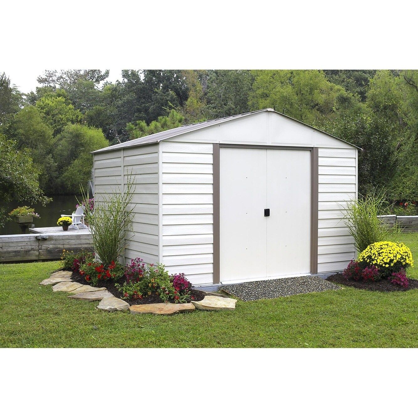 Milford 10ft X 12ft Vinyl Almond Gray Bark Door W55 5in X H64 5in Walmart Com In 2020 Insulating A Shed Metal Shed Shed Landscaping