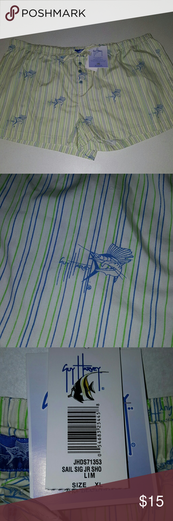 Guy Harvey Lounge Shorts Cute striped Marlin sleep/lounge shorts. White with green/blue stripes. Guy Harvey Intimates & Sleepwear Pajamas
