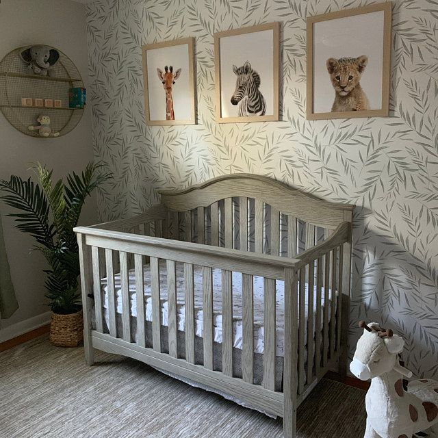 Fern Leaves Nursery Removable Wallpaper Minimal Design Baby Room Wallpaper Self Adhesive And Traditional Wallcovering Nursery Room Boy Baby Nursery Neutral Removable Wallpaper Nursery