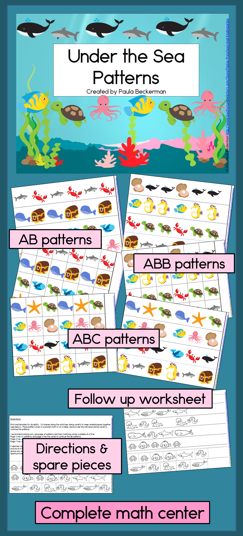 Ocean Theme Under The Sea Patterns: Math Center with AB, ABC, and ...