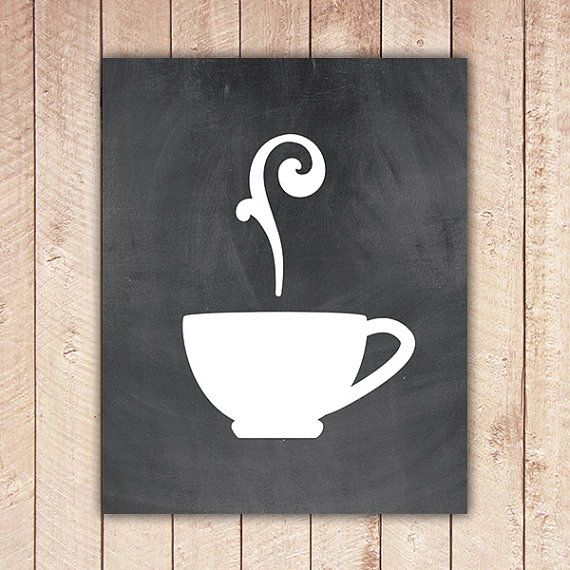 15 Whimsical Kitchen Designs With Chalkboard Wall: Kitchen Printable Art Print, Chalkboard Coffee Cup, Tea