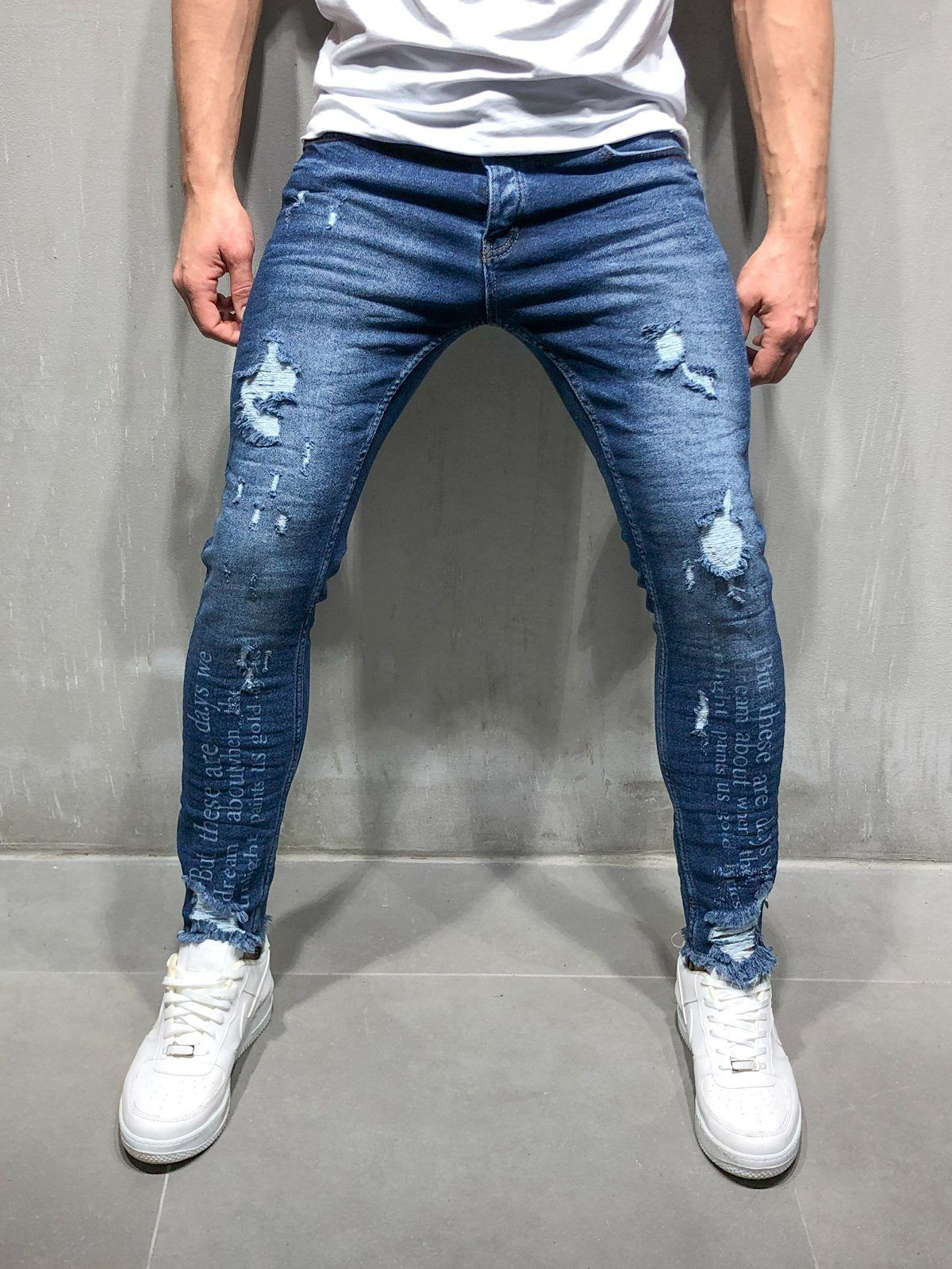 Skinny Ripped Jeans Type Print Blue Ropa Casual Hombres Moda Para Hombre Casual Jeans Para Hombre