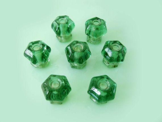 GROUP 12 Original Vintage Green Depression Glass Furniture Knobs ...