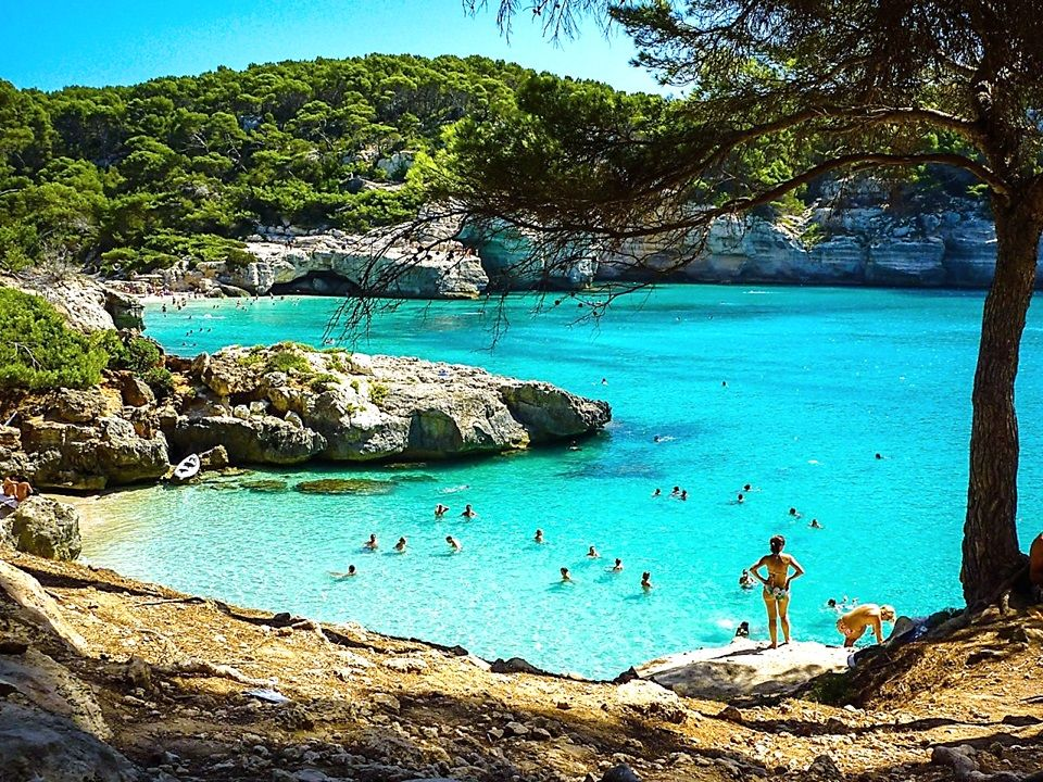 SPAIN Minorca Island Balearic Islands Cala Mitjana beach bay