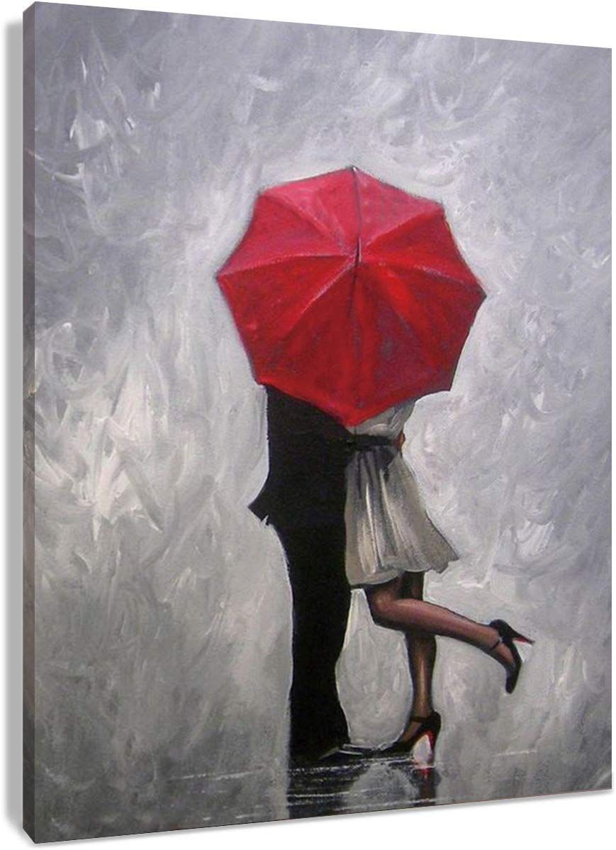 Hvest Lovers Canvas Wall Art Couple Kissing In Rain With Red Umbrella Artwork Romantic Painting For Living Room Bedroo Umbrella Painting Rumney Canvas Painting