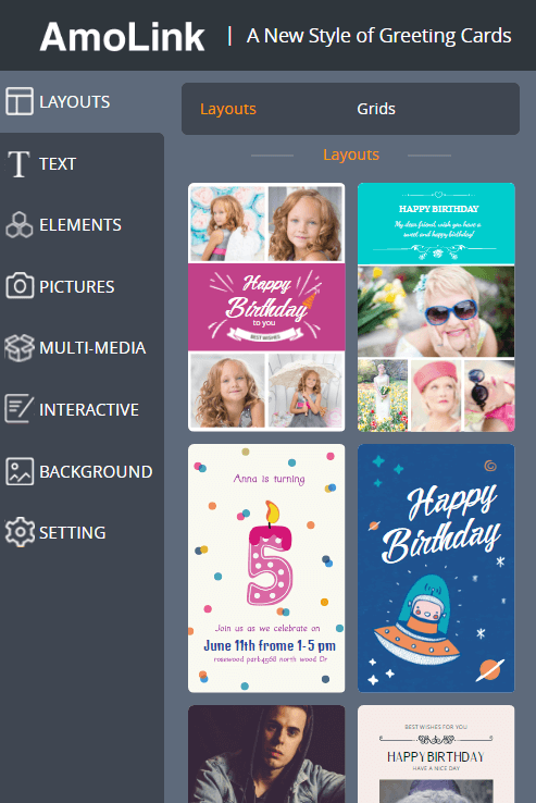 AmoLink Birthday Card Layout