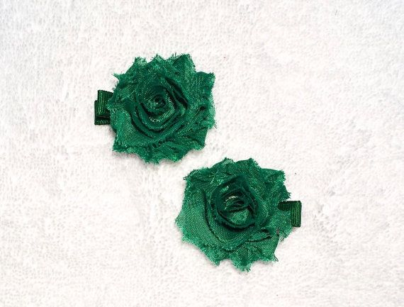 Shabby Hair Clip Set  2 inch Green Shabby Chic by ItsEspecially4U