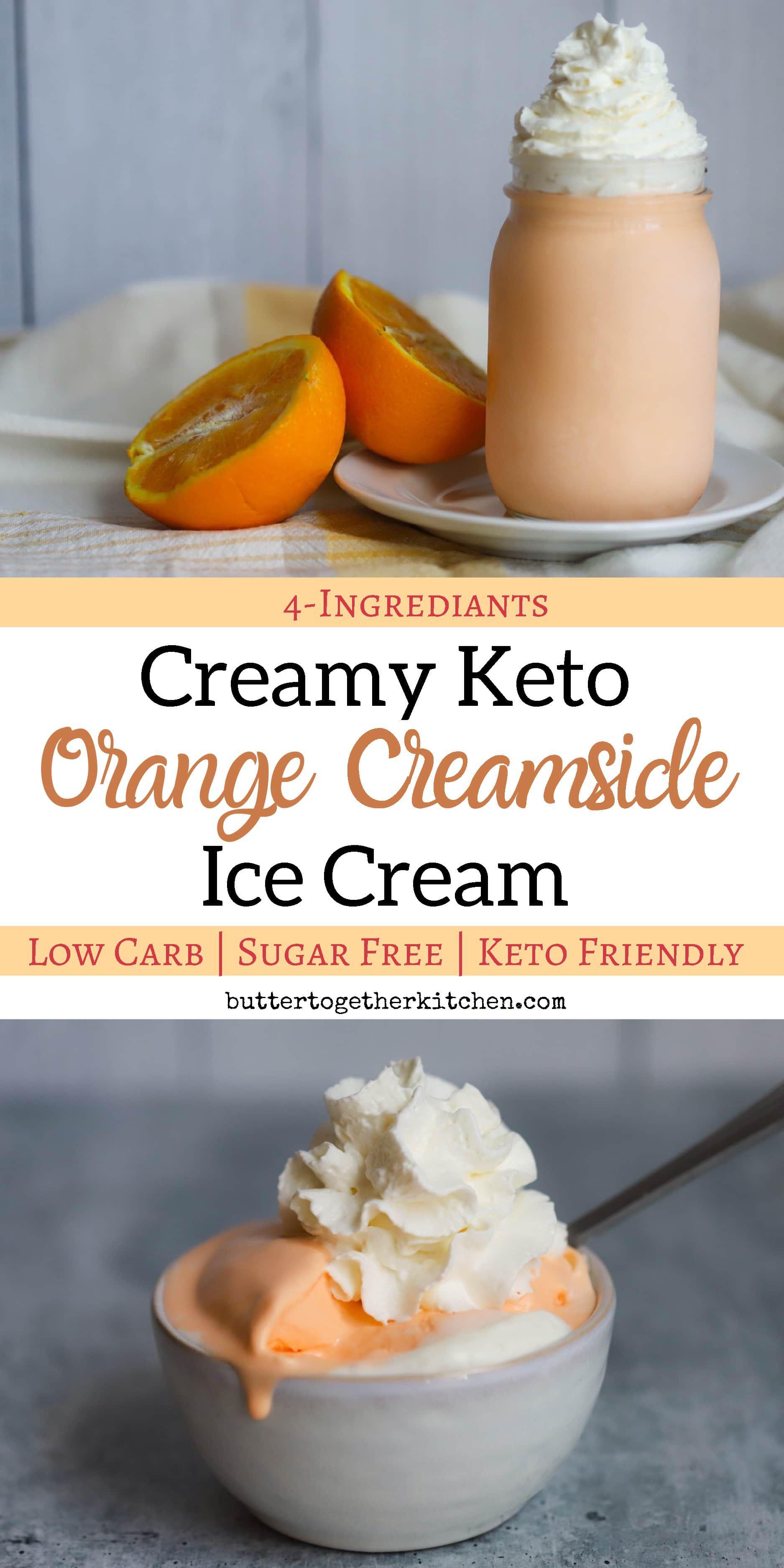 Creamy Keto Orange Creamsicle Ice Cream - This easy keto orange creamsicle ice cream is the perfect summer treat! #ketoicecream #ketoorangecreamsicle #ketodessert | buttertogetherkitchen.com #ketoicecream