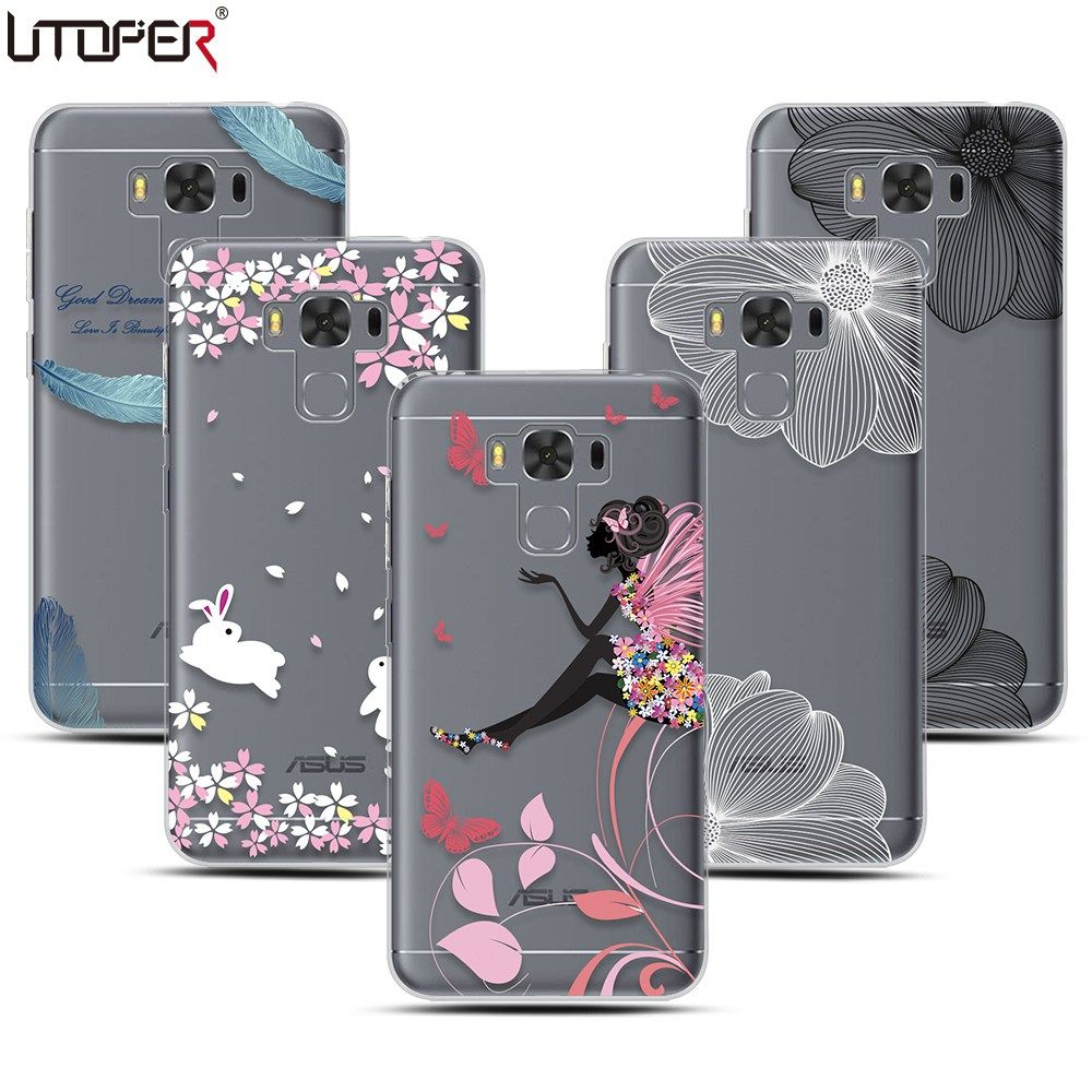 cheap for discount deb29 85176 For Asus Zenfone 3 Max Case Flower Feather Clear Cover For Zenfone 3 ...