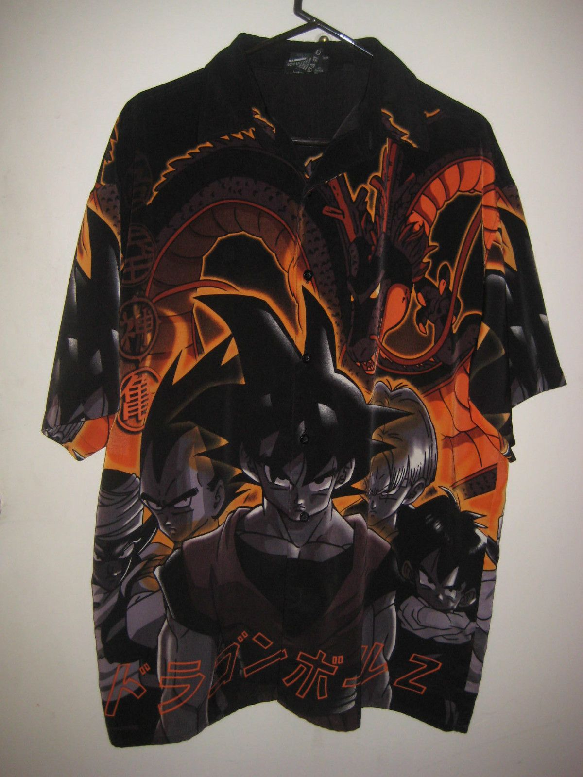 6ee81827 Mens Dragonball Z Goku Button Down Anime Camp Bowling Shirt Size ...