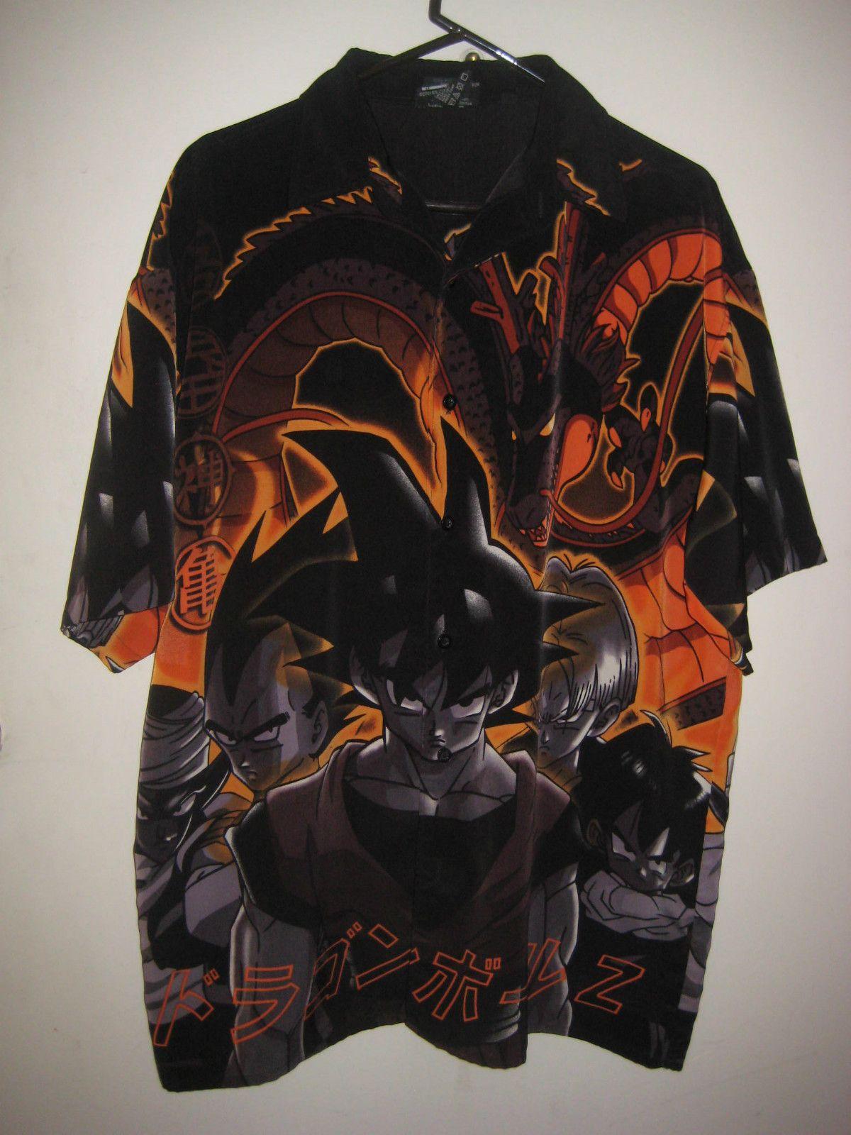 eb3f3e3e9 Mens Dragonball Z Goku Button Down Anime Camp Bowling Shirt Size ...