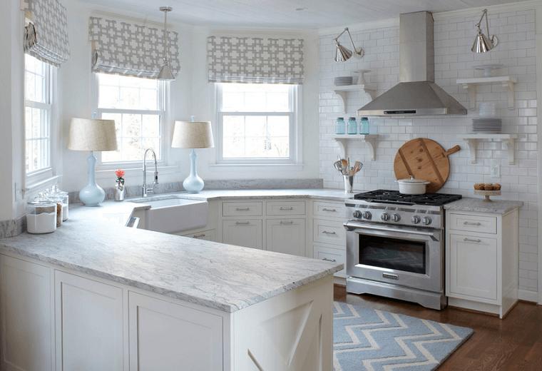 Cocinas blancas con muebles de madera muy modernas | Ventanas ...