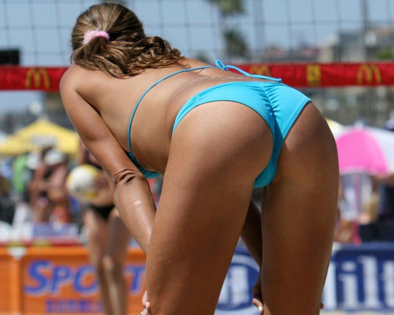 Sexy single athletic beach volleyball women