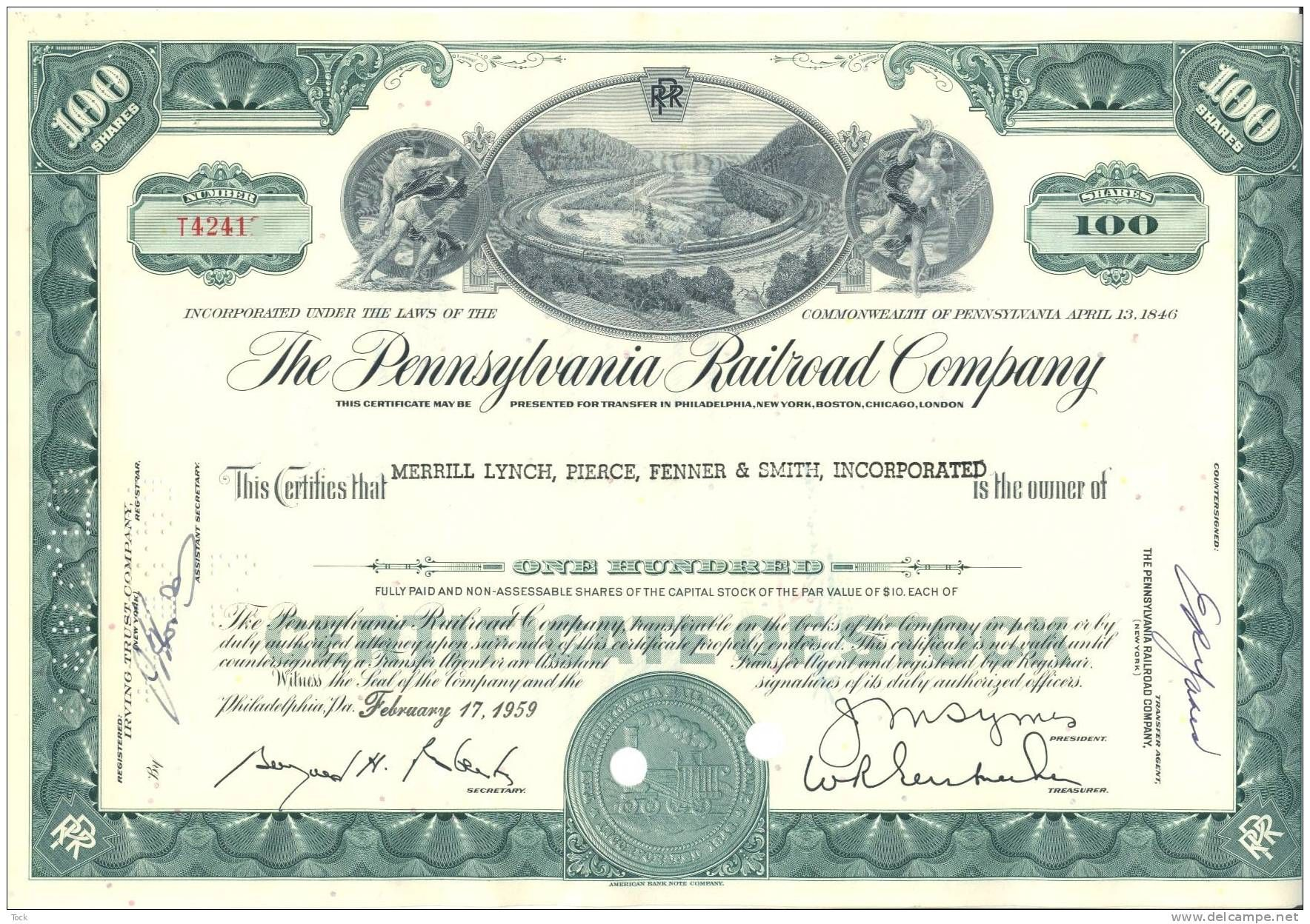 Bond share stock certificate pennsylvania railroad company 100 get this special offer pennsylvania railroad company horseshoe curve stock certificate green yelopaper Images