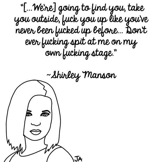 When Rock Stars Threaten The Crowd: http://blogs.ocweekly.com/heardmentality/2015/06/when_rockstars_threaten_the_crowd.php Illustration by Jena Ardell for OC Weekly. #ShirleyManson #Garbage #Rant