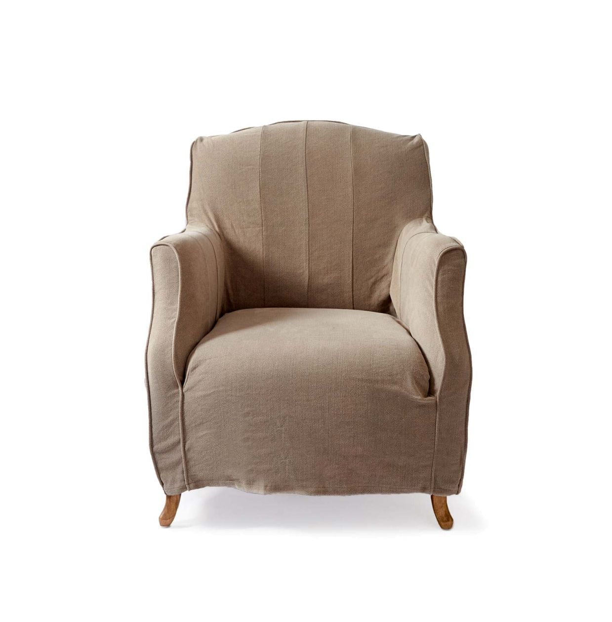 Rue du Senat Fauteuil, washed linen, taupe - Woonkamer | Rivièra ...