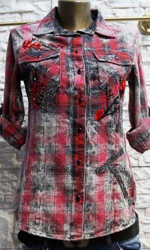 e0d7c54f8ef Спортно елегантни дамски ризи в червено, с бродерия и мъниста за декорация