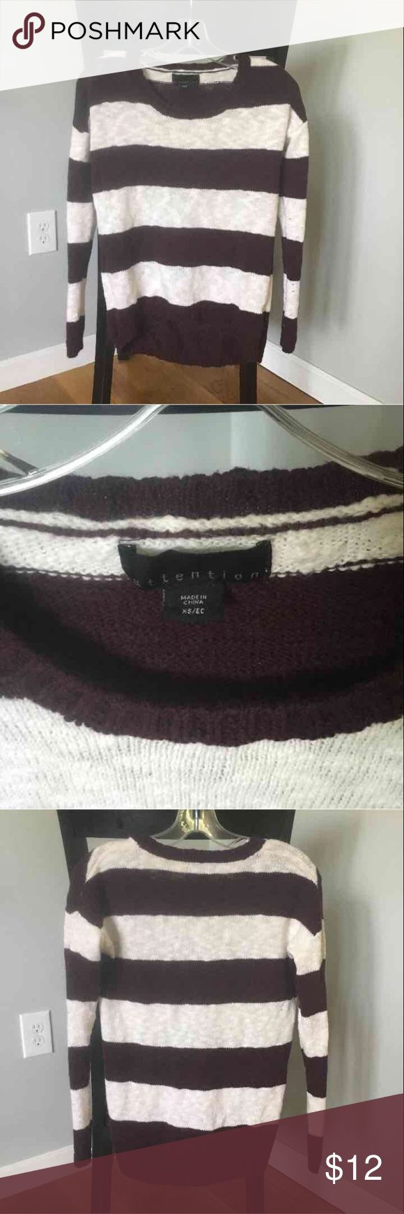 Maroon and white stripe sweater | Customer support and Delivery