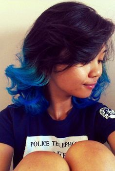 Blue And Black Short Hair Tipsblue Hairbrown