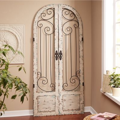 Set Of 2 Scrolled Shutters Gate Wall Decor Shutter Wall Decor Arched Wall Decor