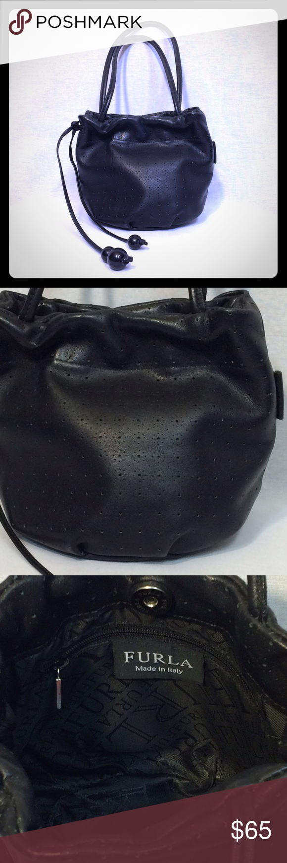 """Furla Mini Bucket Bag Perforated leather mini bucket bag from Furla. Approx. measurements: 5"""" L x 3 1/2 W x 7"""" D with 8"""" drop. Good, used condition - minimal wear throughout but no rips, tears or stains. Features drawstring and magnetic closures and interior zipper pocket. Perfect day to night bag, it is simple and chic and able to transition no matter what your wearing! Furla Bags"""
