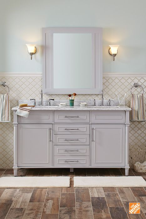 Home Decorators Collection Aberdeen 60 In W X 22 In D Double Bath Vanity In Dove Grey With Natural Marble Vanity Top In White 8103700270 Marble Vanity Tops Elegant Bathroom Modern Bathroom Vanity