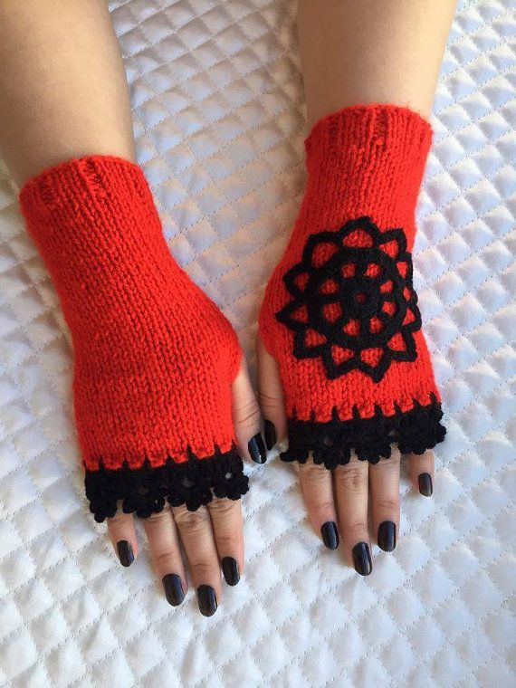 Knitted Fingerless Gloves Red  Rose Embroidered by PinarKnitting