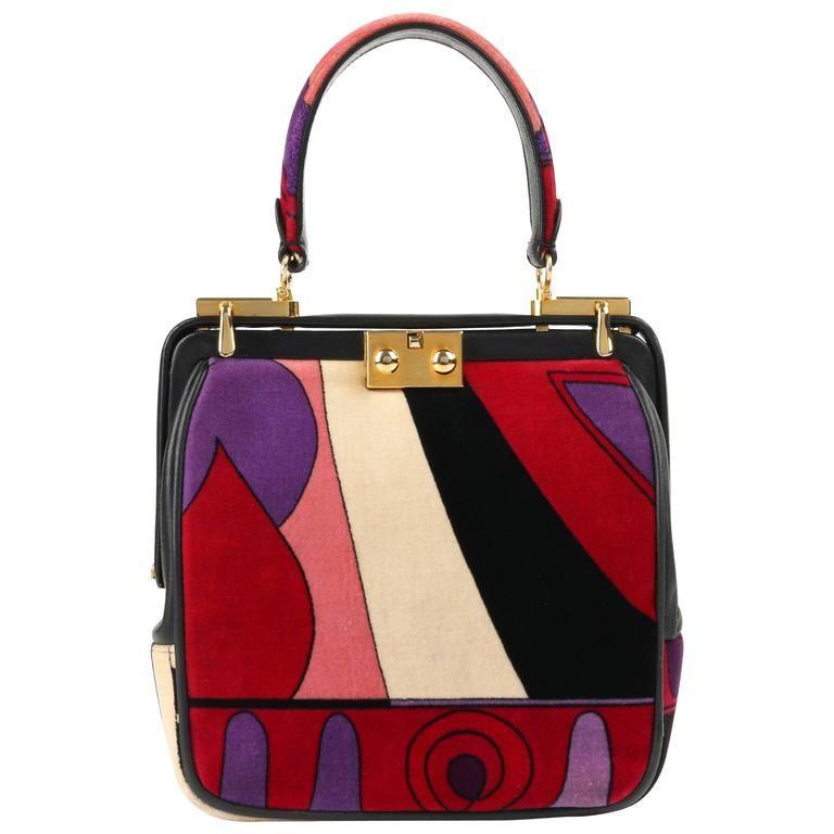 7459070e3f48 EMILIO PUCCI Signature Print Multicolor Velvet & Leather Purse | 1stdibs.com