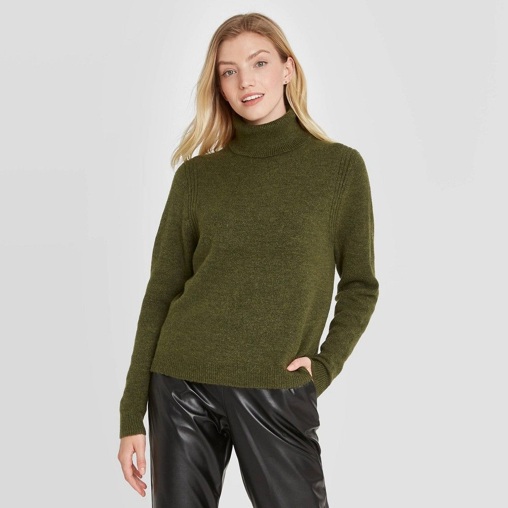 Women's Turtleneck Pullover Sweater A New Day™ Olive Green