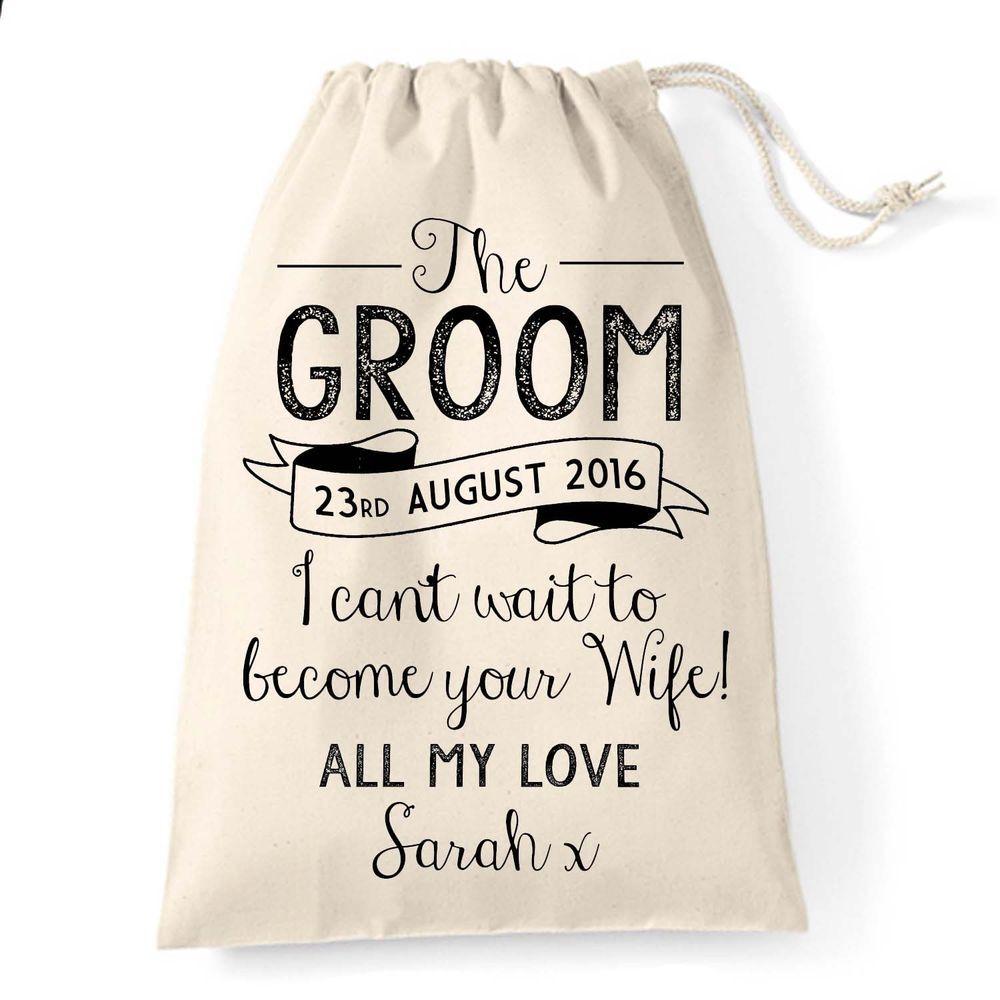 Gift bag for the groom on wedding day morning husband to