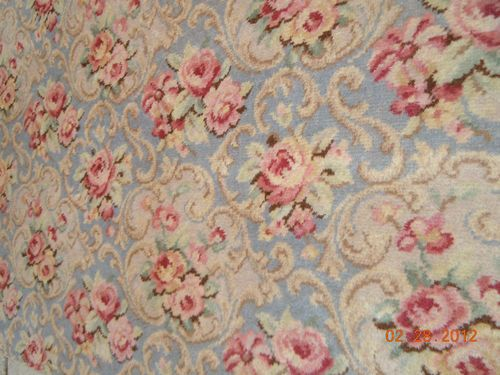 1920 S Best French 9 X12 Pastel Blue Barkcloth Rug Roses