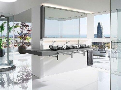 Modern White Interior Design Of Bathroom Sink And Kitchen 1