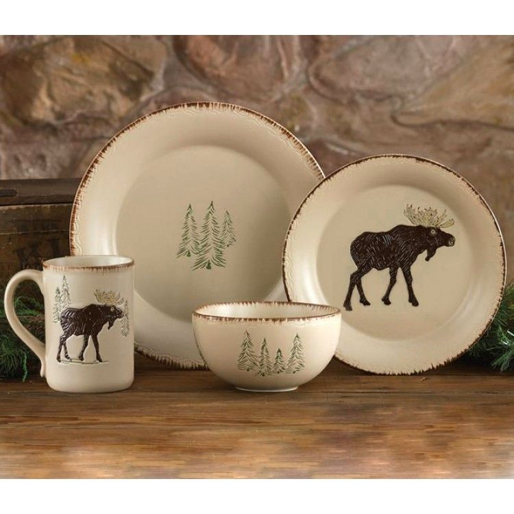 Rustic Retreat Moose and Tree Stoneware Dinnerware Set $175 & Rustic Retreat Moose and Tree Stoneware Dinnerware Set $175 | I need ...