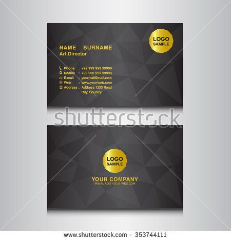 Black Name Card Design Template Vector Illustration  Business