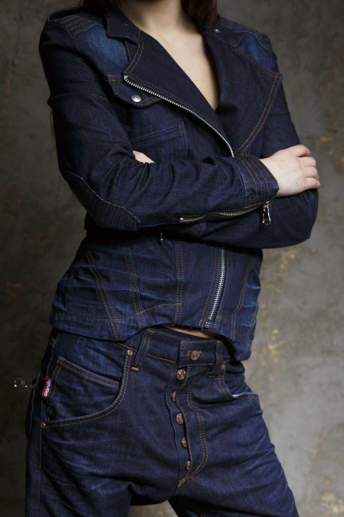All denim. The jacket's ok but it's the pants I like.