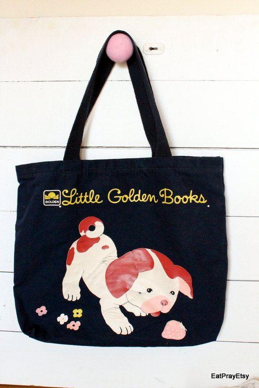 Vintage Poky Little Puppy Book Bag by Little Golden Books Canvas ...