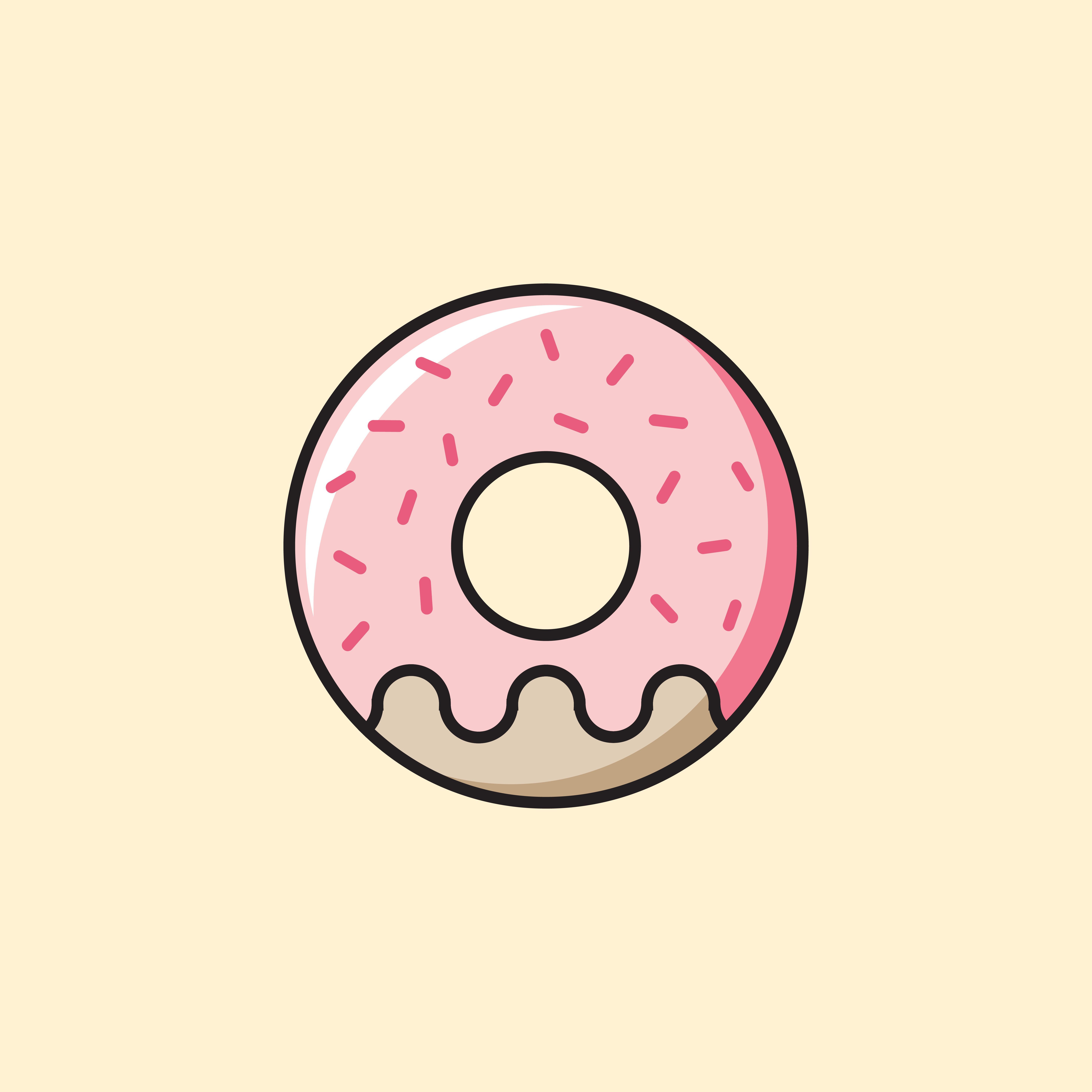 Cute Pink Donut Icon On Yellow Sticker By Ennbe In 2021 Doodle Drawings Illustration Design Kawaii Wallpaper