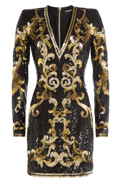 Sequin Mini Dress Balmain Tail V Neck Gold