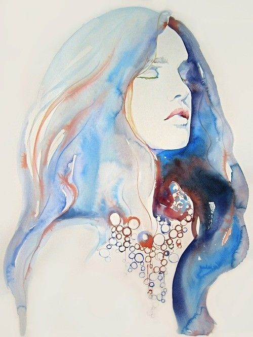 Like A Mermaid Coming Up From The Sea Watercolor Illustration
