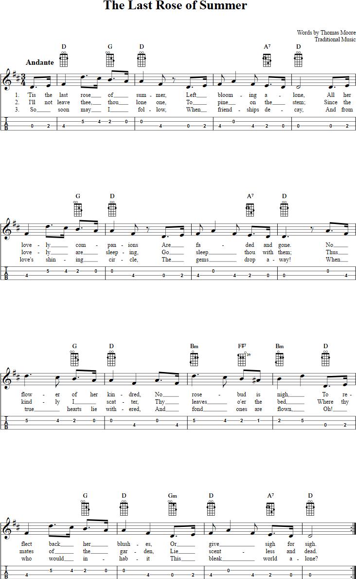 The Last Rose Of Summer Mandolin Tab Music Mandolin Music