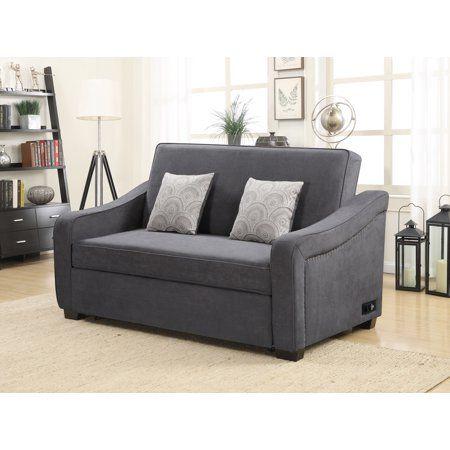 Serta Harison Queen Sofa Bed With Power Strip Gray Walmart Com