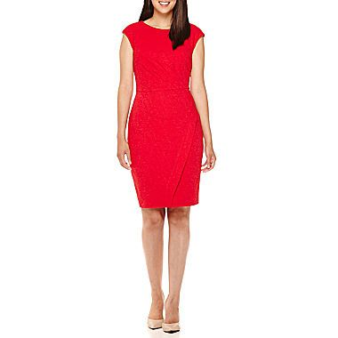 jcp | London Style Collection Cap-Sleeve Swirl Texture Side Pleat Sheath Dress - Petites