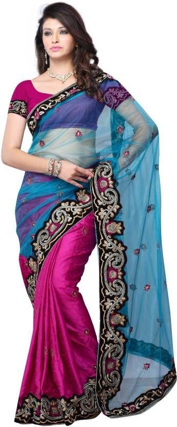 Utsav Fashion Printed Crepe Blouse in Fuchsia and Royal Blue